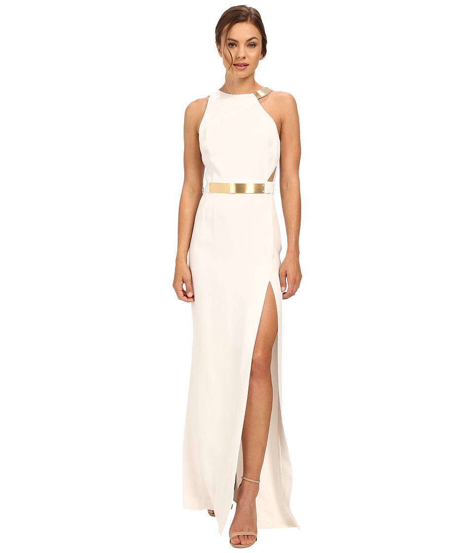 Halston Heritage - Asymmetrical Strap Gown with Split Detail (Eggshell) Women's Dress