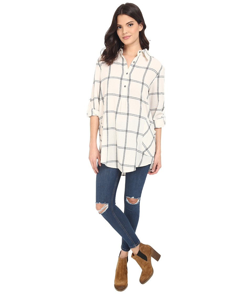 Brigitte Bailey - Rochelle Button Up Plaid Top (Cream/Black) Women's Blouse