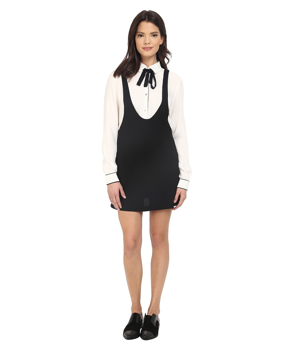 Brigitte Bailey - Poppy Dress with Neck Tie (Black/Off-White) Women's Dress