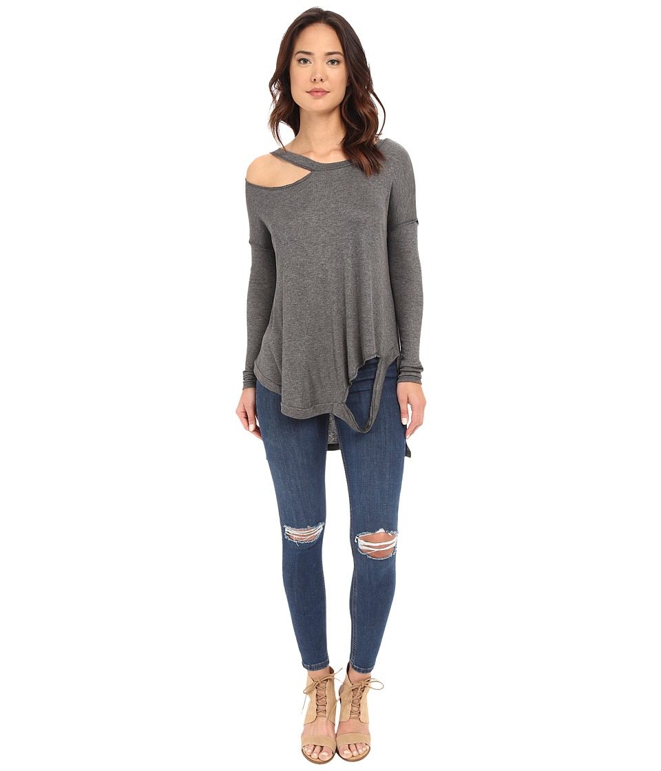 Brigitte Bailey - Cassidy Long Sleeve Ripped Top (Charcoal) Women's Clothing
