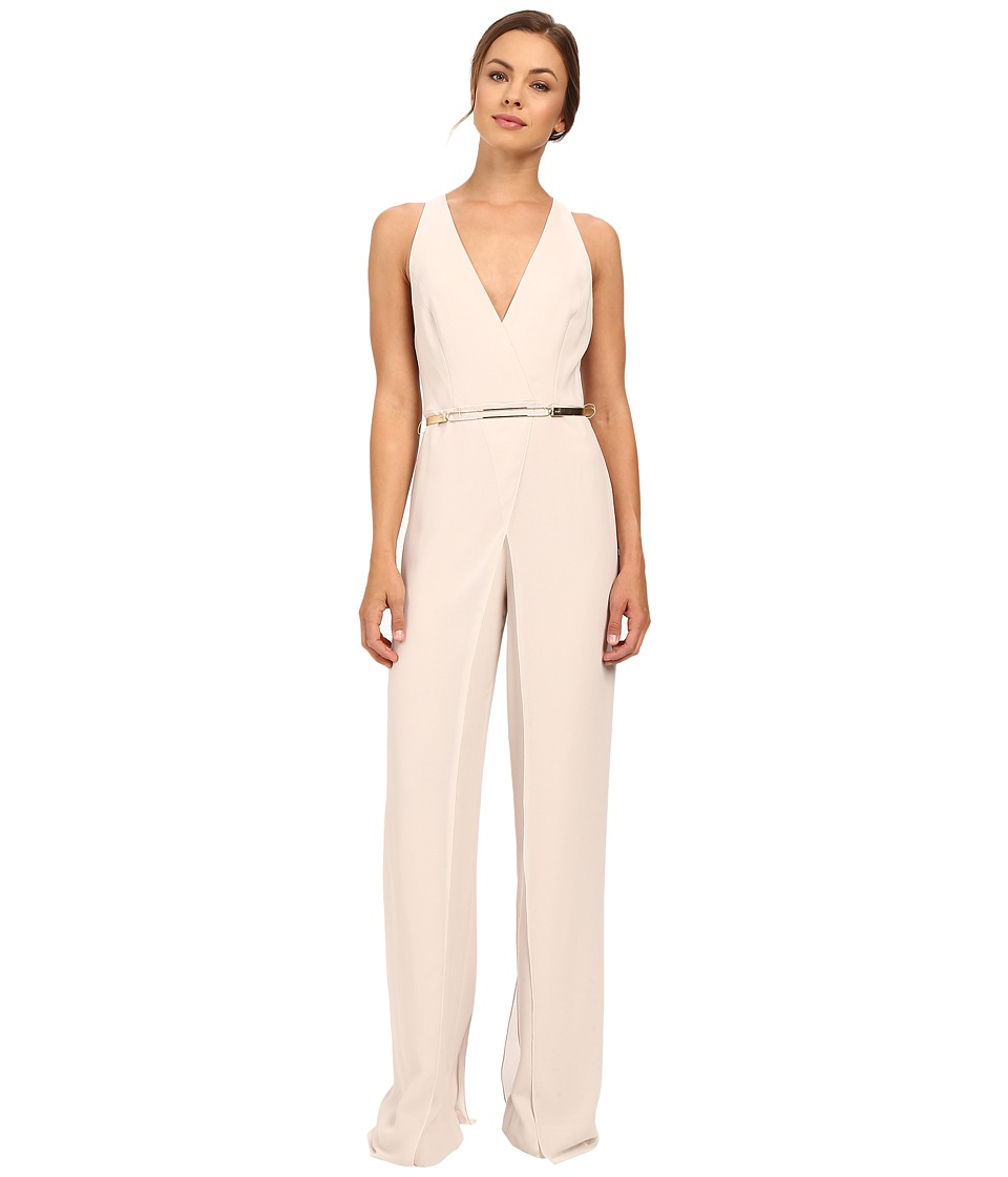 Halston Heritage - Sleeveless Halter Neck Jumpsuit with Overlay (Oyster) Women's Jumpsuit & Rompers One Piece