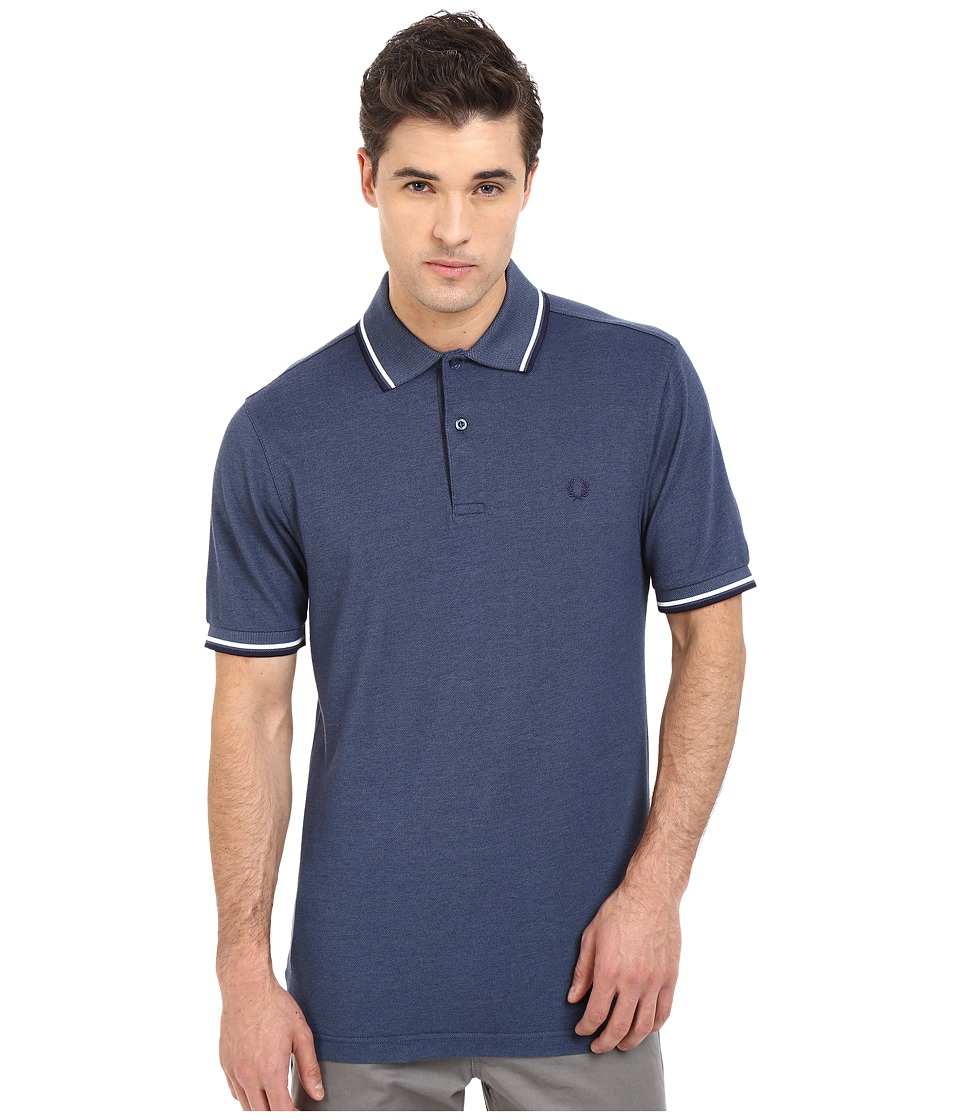 Fred Perry - Twin Tipped Fred Perry Polo (Lake Oxford/White/Carbon Blue) Men's Short Sleeve Pullover