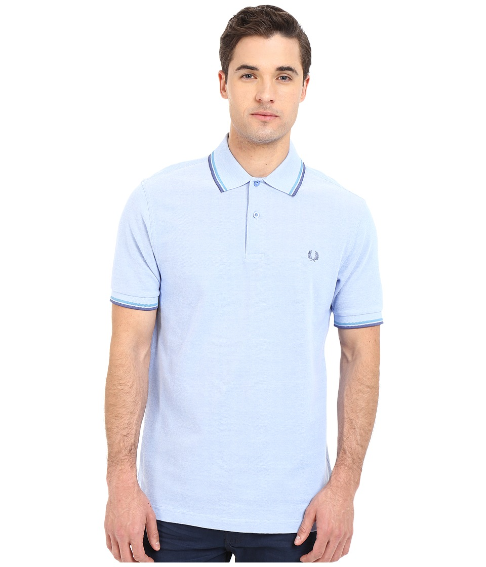 Fred Perry - Twin Tipped Fred Perry Polo (Light Smoke Oxford/Soft Blue/Dusk) Men's Short Sleeve Pullover