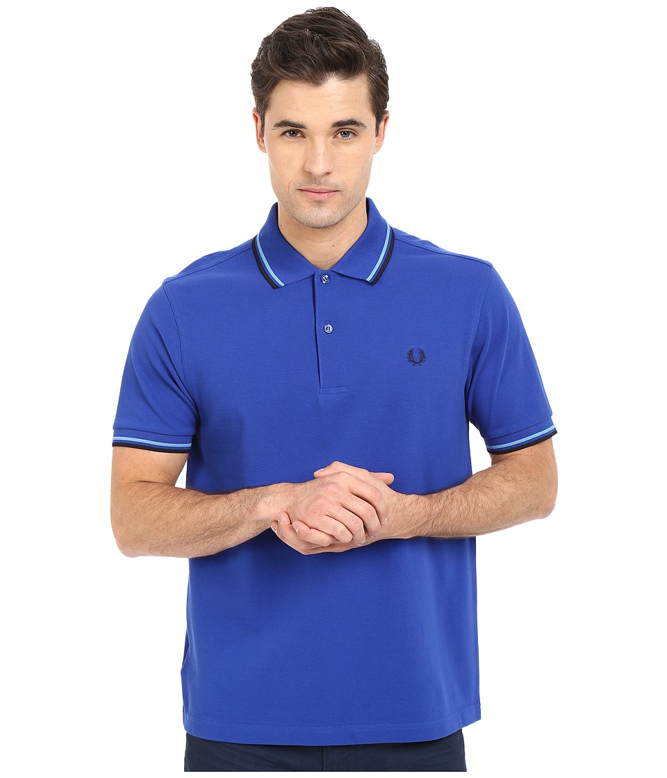 Fred Perry - Twin Tipped Fred Perry Polo (Regal/Soft Blue/Navy) Men's Short Sleeve Pullover