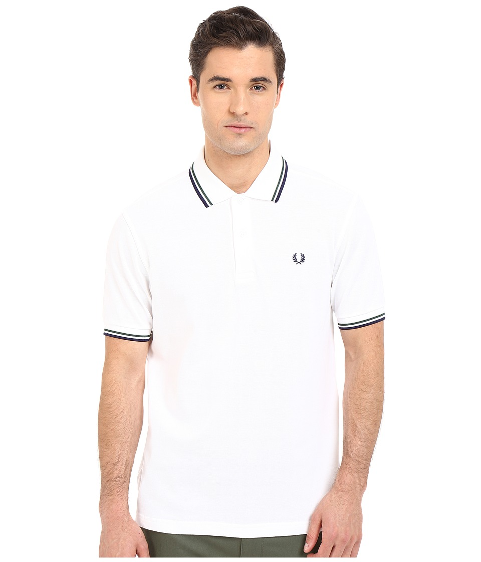 Fred Perry - Twin Tipped Fred Perry Polo (White/Mid Ivy/French Navy) Men's Short Sleeve Pullover