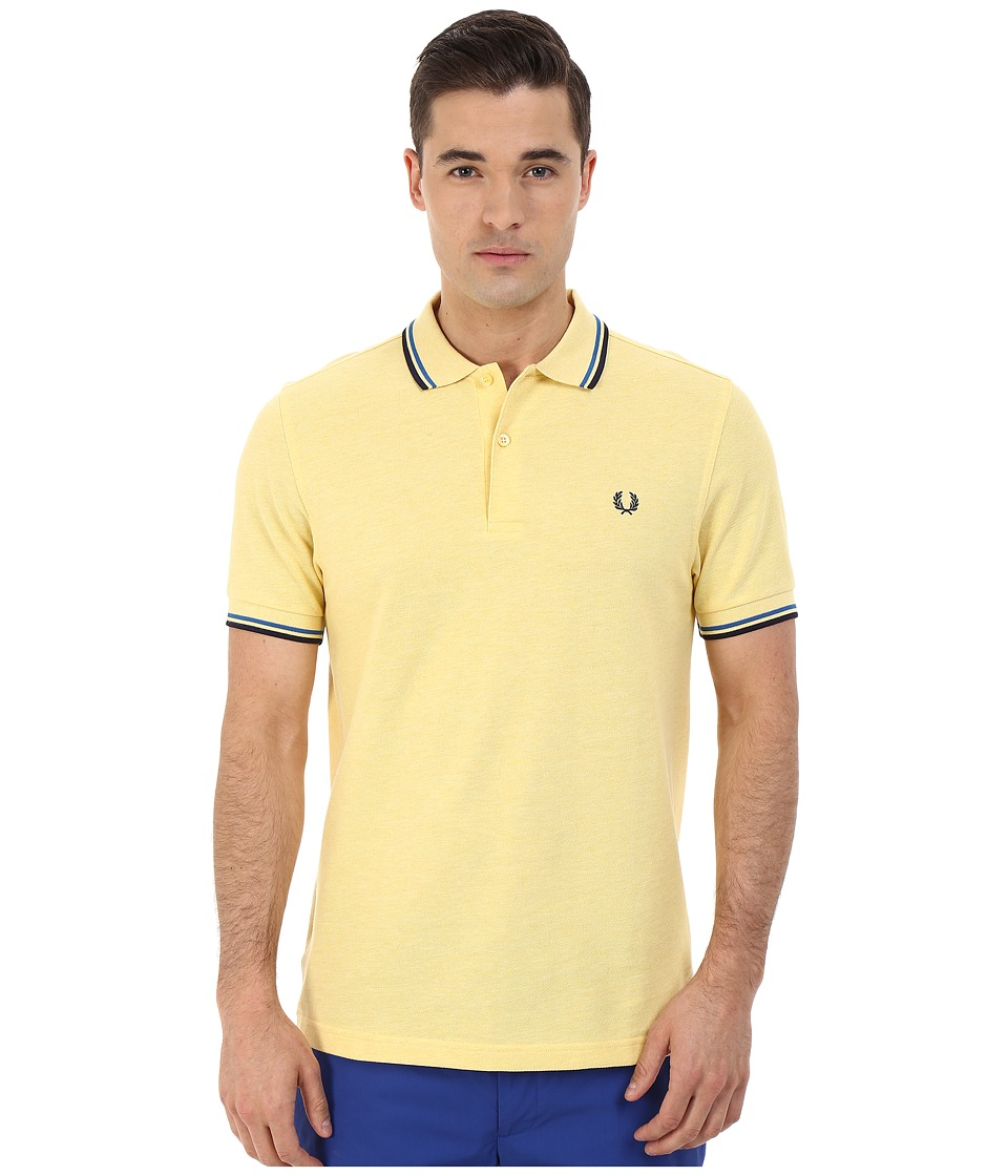 Fred Perry - Slim Fit Twin Tipped Fred Perry Polo (Mid Yellow Marl/Atlantic/Carbon Blue) Men's Short Sleeve Knit