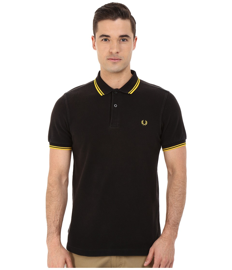 Fred Perry - Slim Fit Twin Tipped Fred Perry Polo (Ozone Black/Yellow) Men's Short Sleeve Knit
