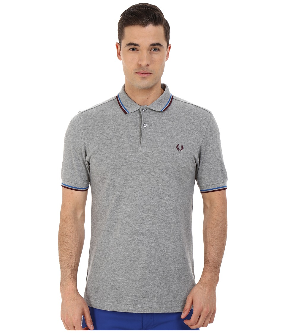 Fred Perry - Slim Fit Twin Tipped Fred Perry Polo (Steel Marl/Atlantic/Mahogany) Men's Short Sleeve Knit