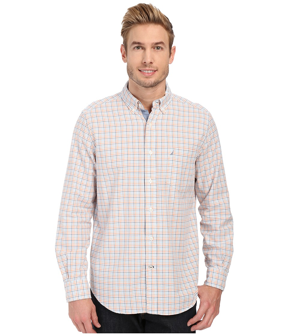 Nautica - Long Sleeve Oxford Tattersall (Suncoast Orange) Men's Clothing