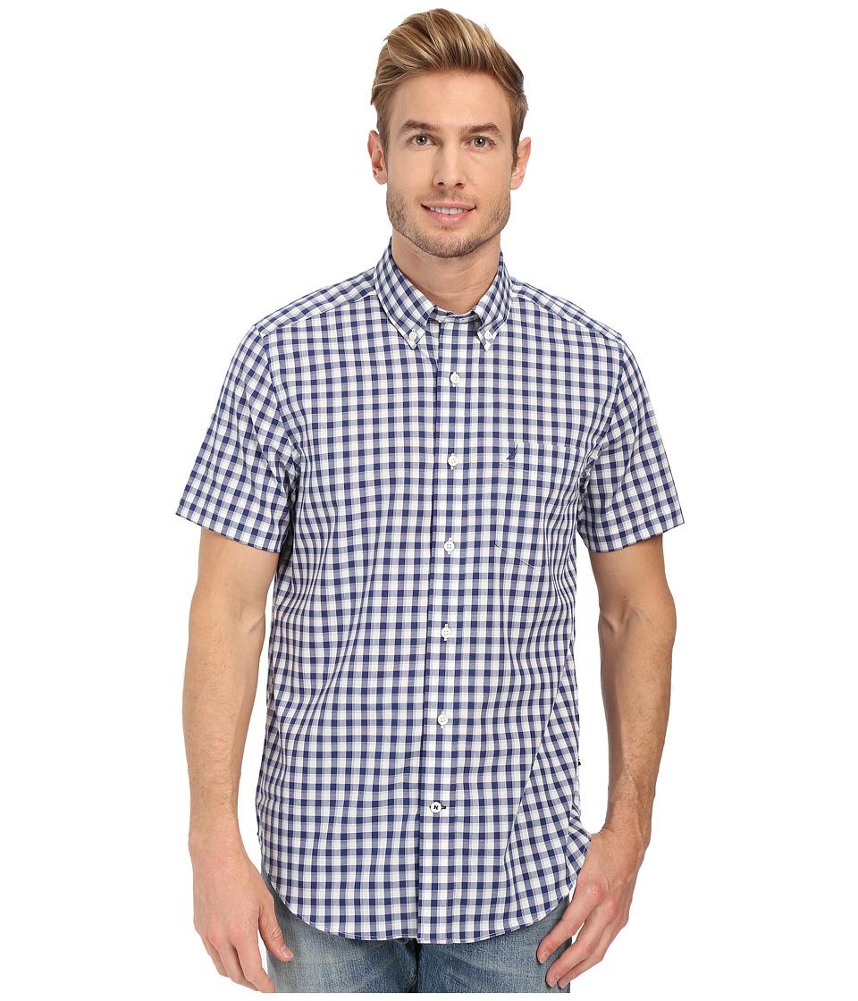 Nautica - Short Sleeve Wrinkle Resistant Plaid Pocket (Blue Print) Men's Clothing