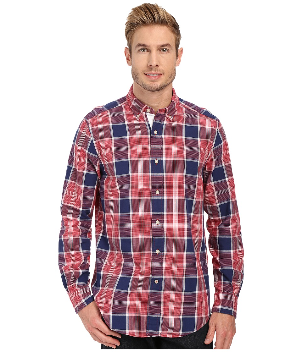 Nautica - Long Sleeve Chambray Plaid (Blue Print) Men's Long Sleeve Button Up