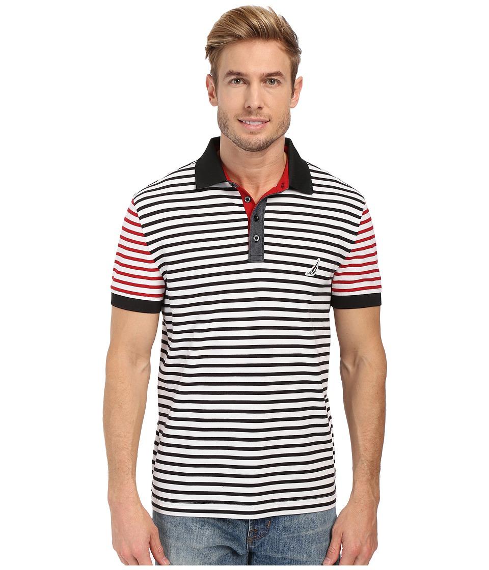 Nautica - Short Sleeve Stripe Block Polo (Bright White) Men's Short Sleeve Pullover