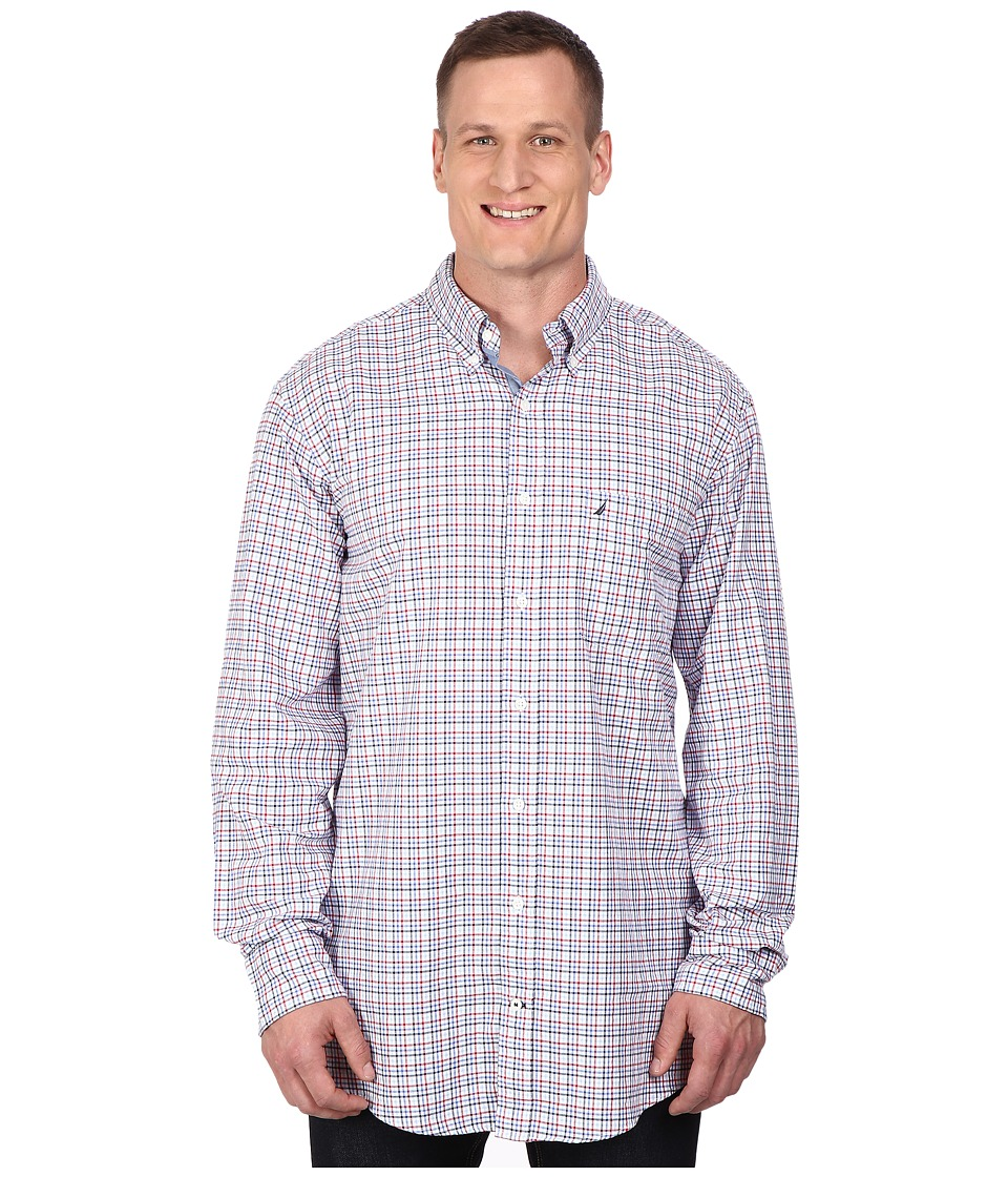 Nautica Big & Tall - Big Tall Long Sleeve Oxford Tattersall (Nautica Red) Men's Clothing