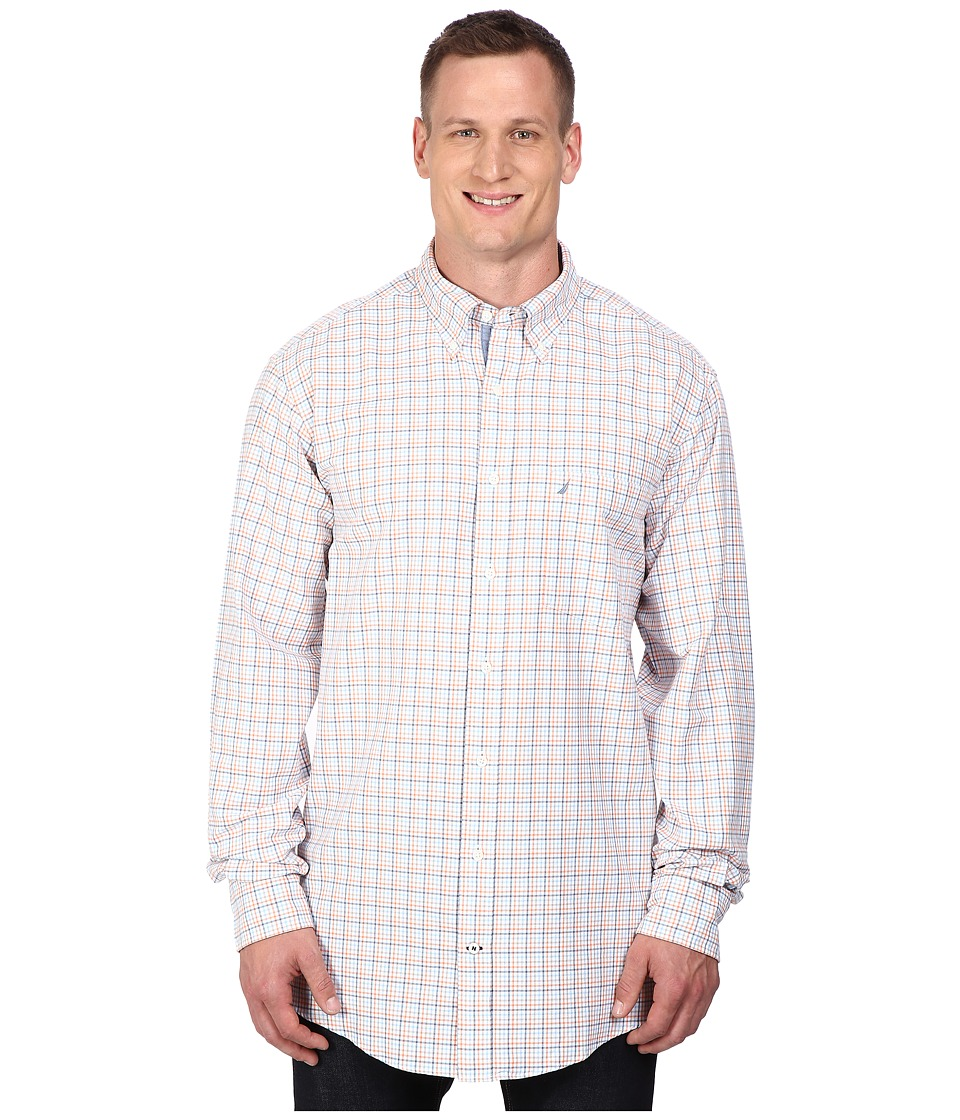 Nautica Big & Tall - Big Tall Long Sleeve Oxford Tattersall (Suncoast Orange) Men's Clothing