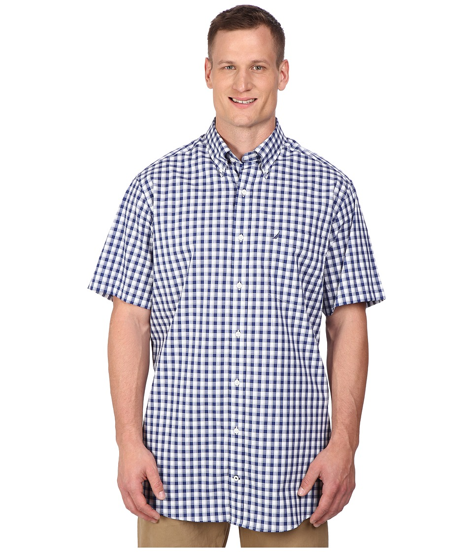 Nautica Big & Tall - Big Tall Short Sleeve Wrinkle Resistant Plaid Pocket (Blue Print) Men's Clothing