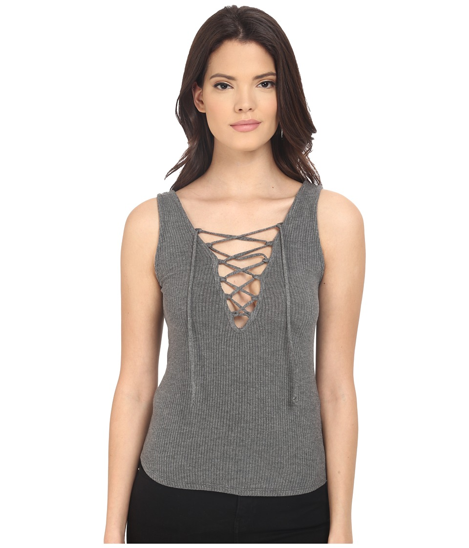 Project Social T - Lauren Lace-Up Rib Tank Top (Charcoal) Women's Sweater