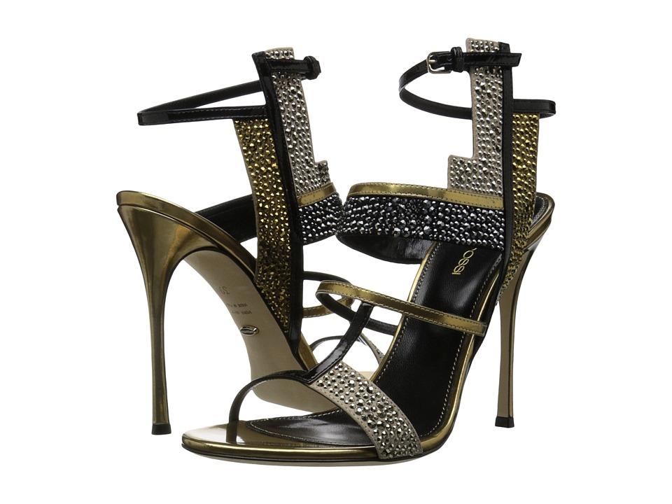 Sergio Rossi - Tamara (Bright Gold Specchio/Patent/Strass) High Heels