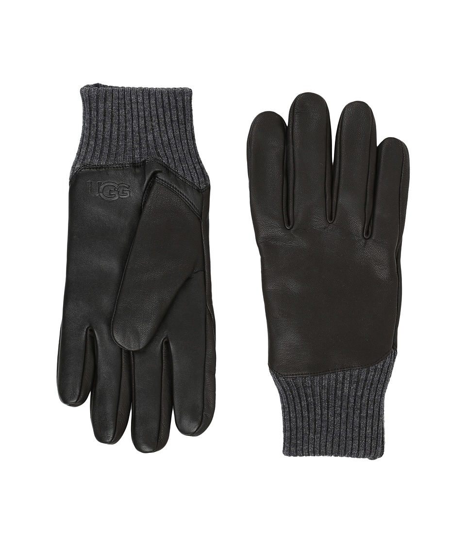 UGG - Leather Smart Gloves/Knit Trim (Black) Extreme Cold Weather Gloves