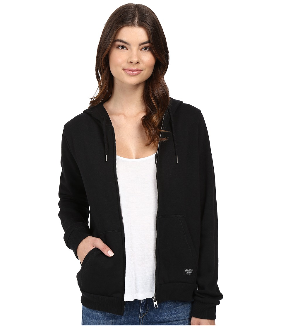 Volcom - Lived In Fleece Zip Hoodie (Black) Women's Sweatshirt