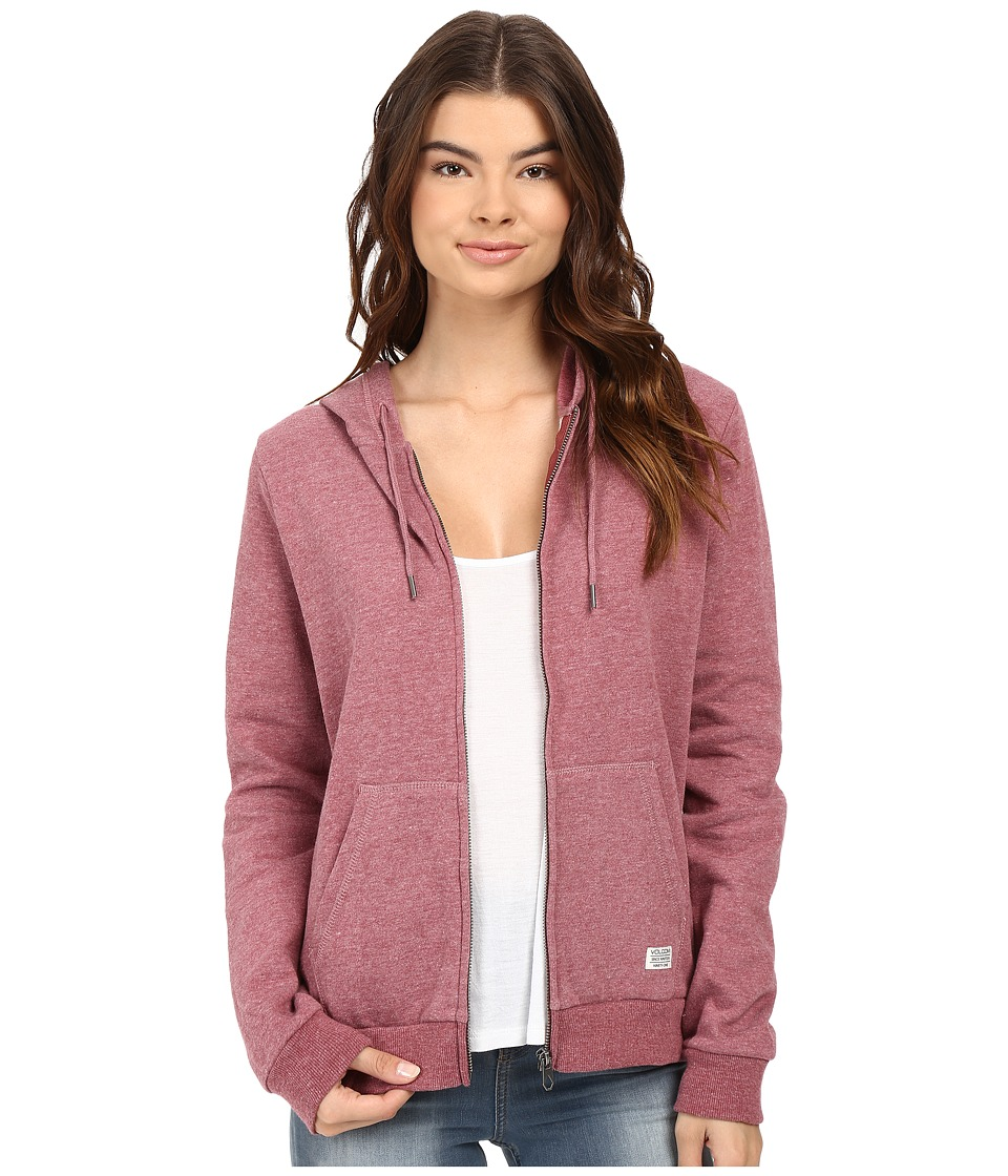 Volcom - Lived In Fleece Zip Hoodie (Crimson) Women's Sweatshirt