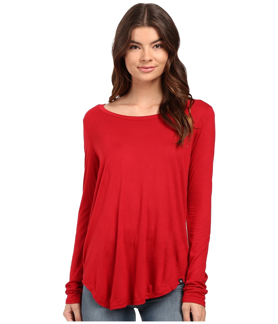 Hurley - Staple Classic Long Sleeve Top (Gym Red) Women's Long Sleeve Pullover