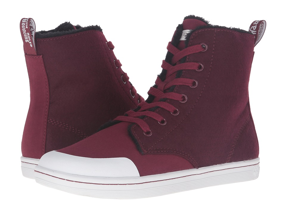 Dr. Martens - Hackney II 7-Eye Boot (Wine Fine Canvas) Women's Lace-up Boots