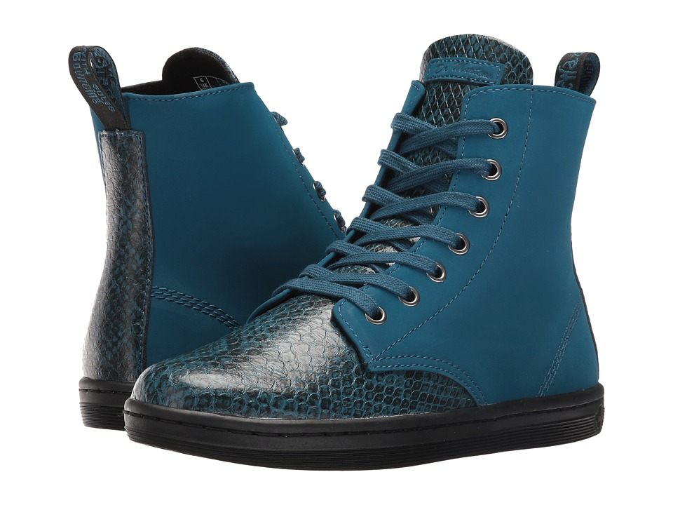 Dr. Martens - Leyton 7-Eye Boot (Lake Blue Viper) Women's Lace-up Boots