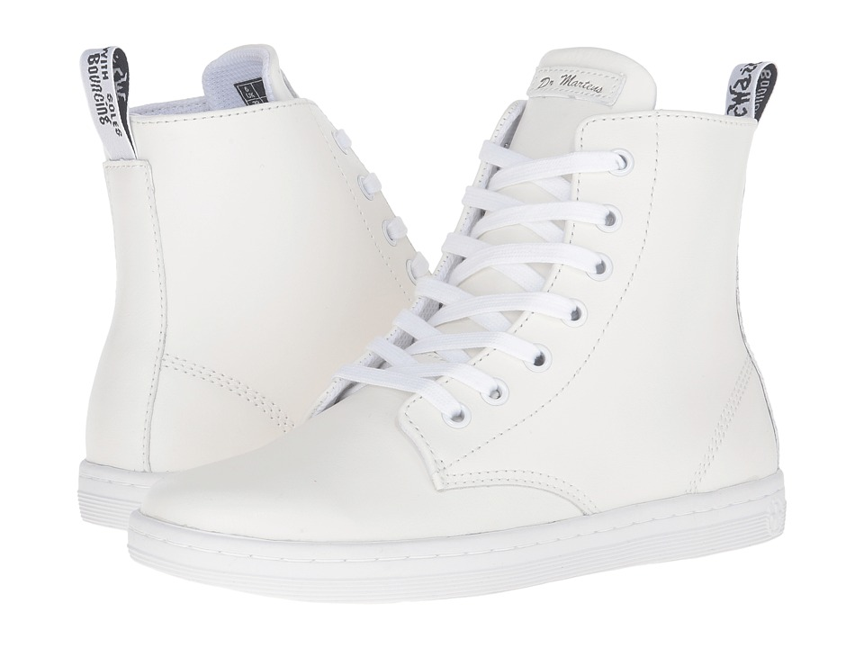 Dr. Martens - Leyton 7-Eye Boot (White T Lamper) Women's Lace-up Boots