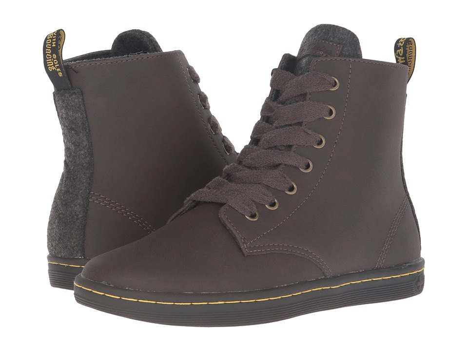 Dr. Martens - Leyton 7-Eye Boot (Dark Brown Alberta Split) Women's Lace-up Boots