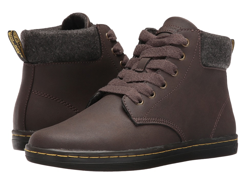 Dr. Martens - Maelly Padded Collar Boot (Dark Brown Alberta Split) Women's Lace-up Boots