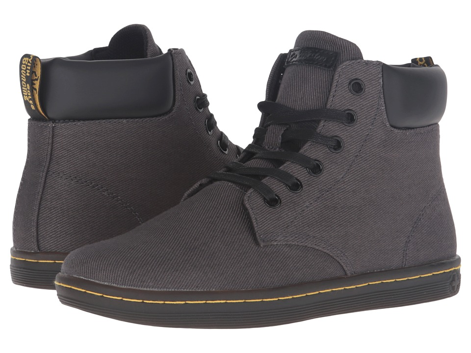 Dr. Martens - Maelly Padded Collar Boot (Lead Overdyed Twill Canvas) Women's Lace-up Boots