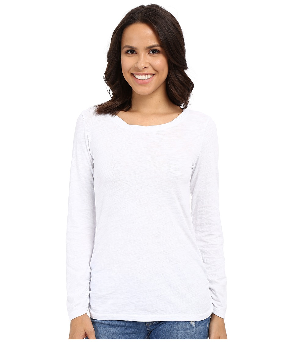 Mod-o-doc - Slub Jersey Long Sleeve Twisted Scoop Neck Tee (White) Women's Long Sleeve Pullover