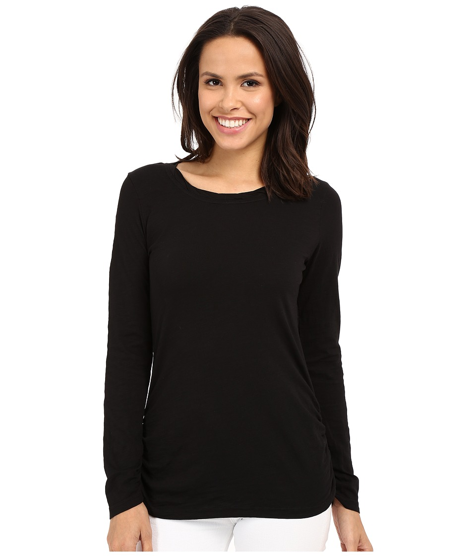 Mod-o-doc - Slub Jersey Long Sleeve Twisted Scoop Neck Tee (Black) Women's Long Sleeve Pullover