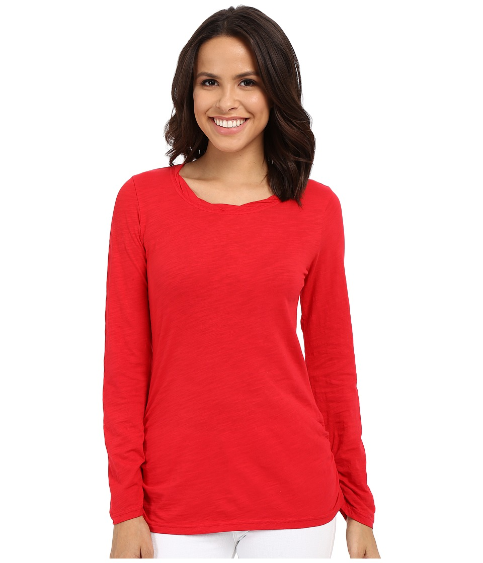 Mod-o-doc - Slub Jersey Long Sleeve Twisted Scoop Neck Tee (Zinnia) Women's Long Sleeve Pullover