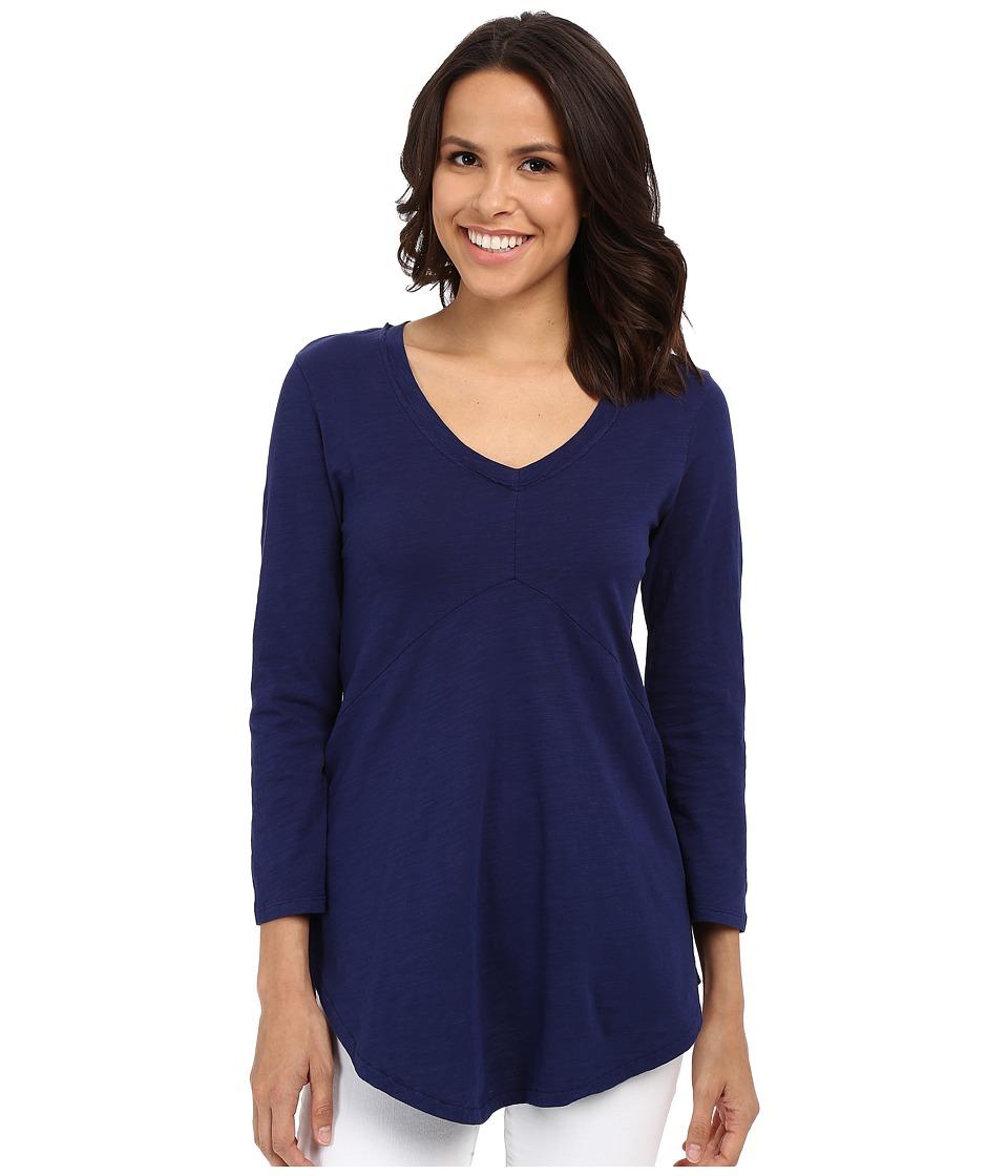 Mod-o-doc - Slub Jersey 3/4 Sleeve V-Neck Tunic (Inkwell) Women's Blouse