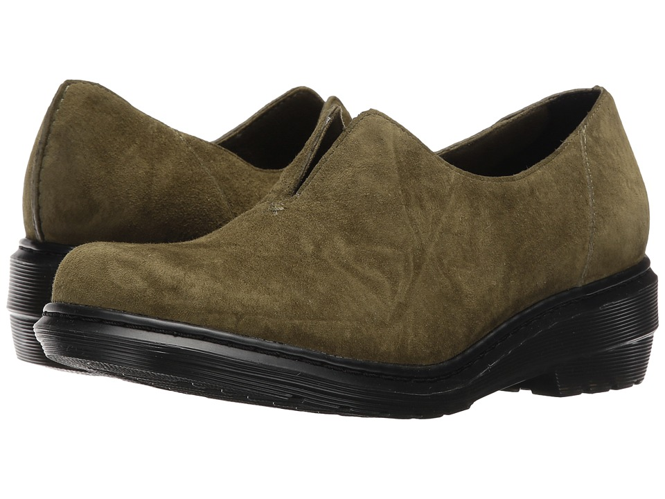 Dr. Martens - Annalina Slip-On Shoe (Grenade Green Soft Buck) Women's Slip on Shoes