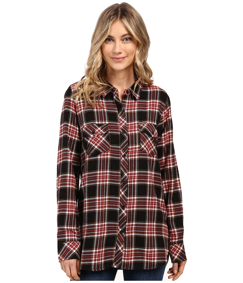 Volcom - Cozy Day Long Sleeve Top (Black Combo) Women's Long Sleeve Button Up