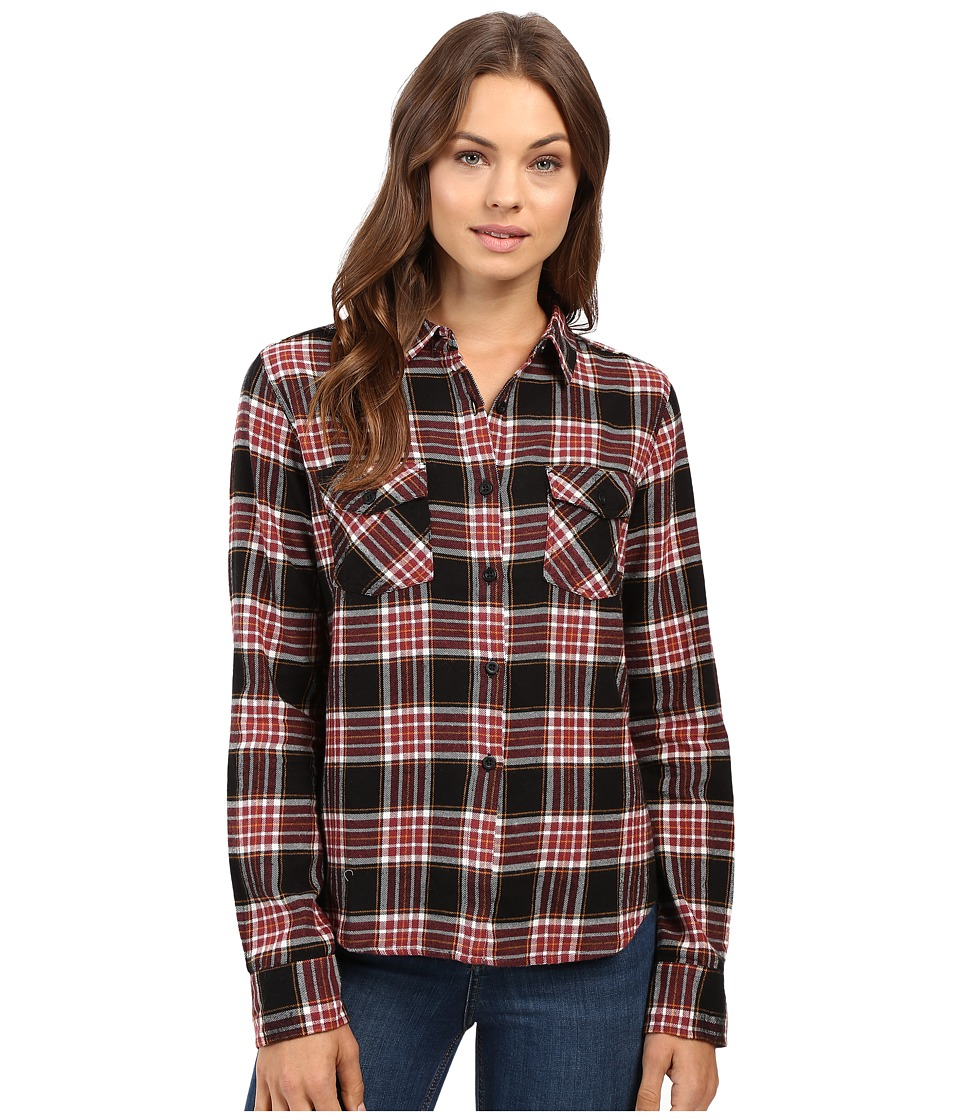 Volcom - Cozy Day Cropped Long Sleeve Top (Black Combo) Women's Long Sleeve Button Up