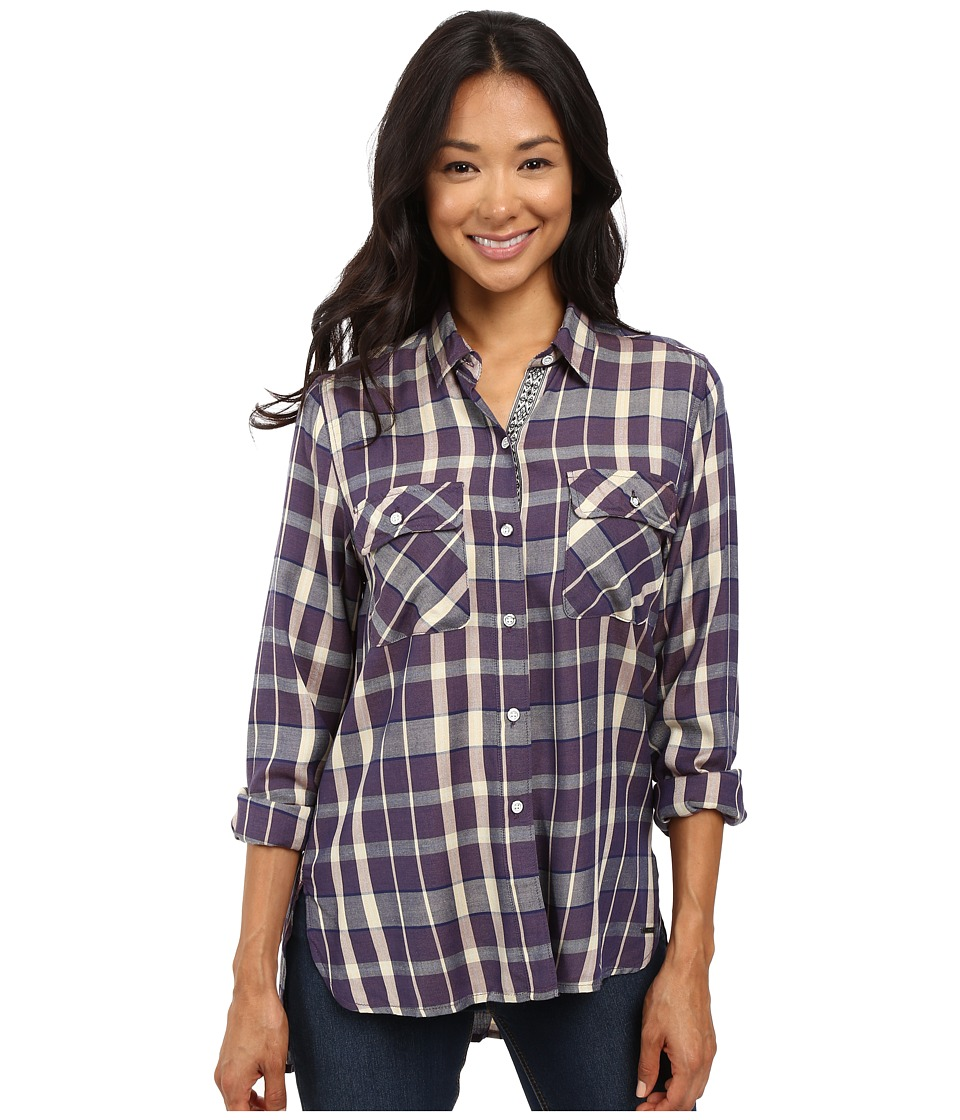Roxy - Sunday Funday Plaid Button Up Top (Italian Plum Kindred Plaid) Women's Clothing