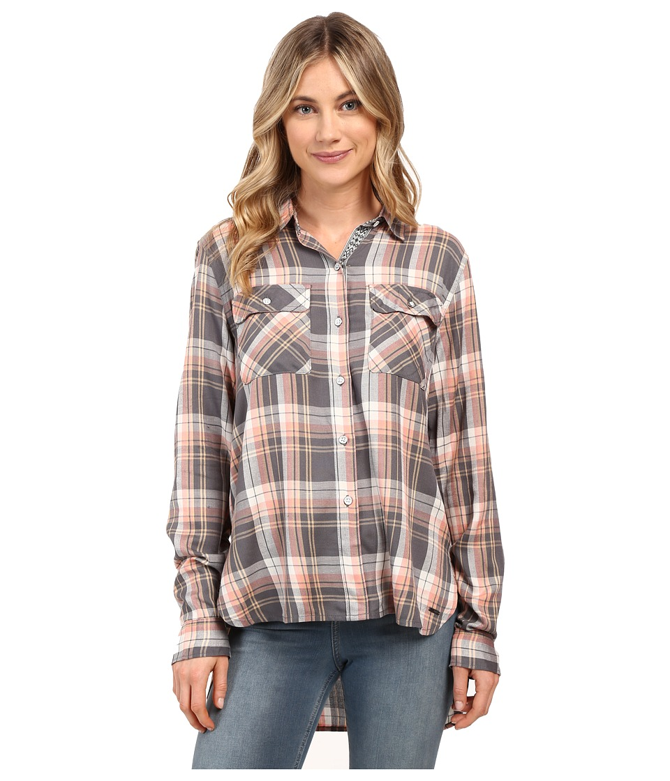 Roxy - Sunday Funday Plaid Button Up Top (Smoked Pearl Lamont Plaid) Women's Clothing