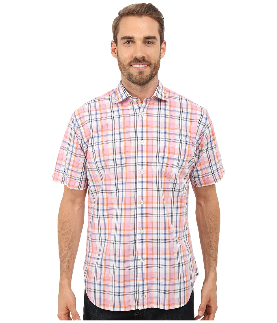Thomas Dean & Co. - Short Sleeve Woven Poplin Plaid w/ Texture (Pink) Men's Short Sleeve Button Up