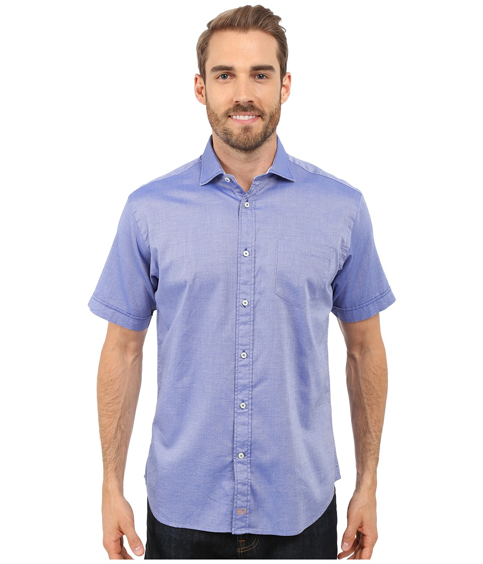 Thomas Dean & Co. - Short Sleeve Woven Polished Dobby (Blue) Men's Short Sleeve Button Up