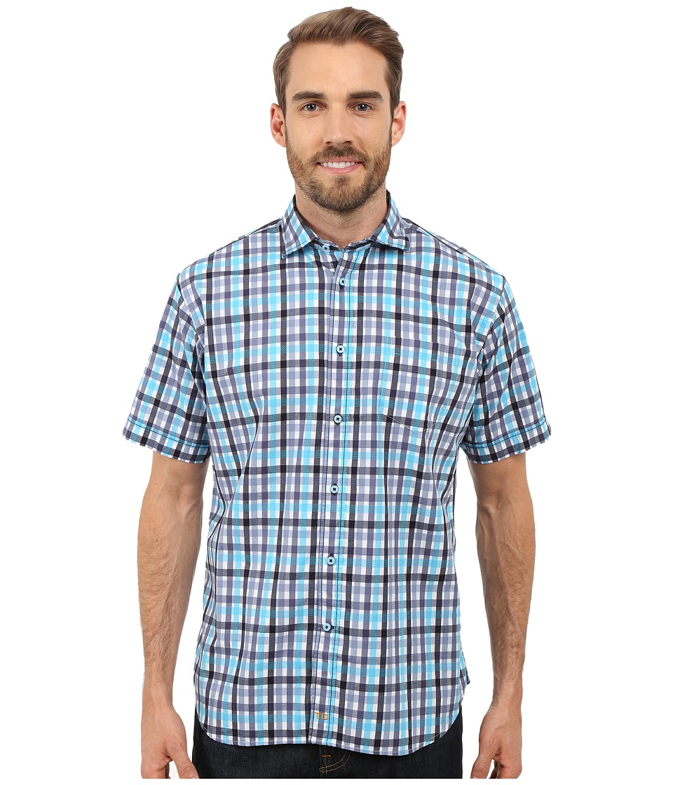 Thomas Dean & Co. - Short Sleeve Woven Twill-Finish Plaid (Blue) Men's Short Sleeve Button Up