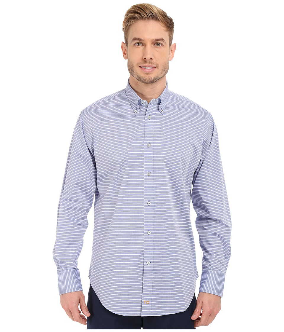 Thomas Dean & Co. - Long Sleeve Woven Chambray Horizontal Stripe (Blue) Men's Long Sleeve Button Up
