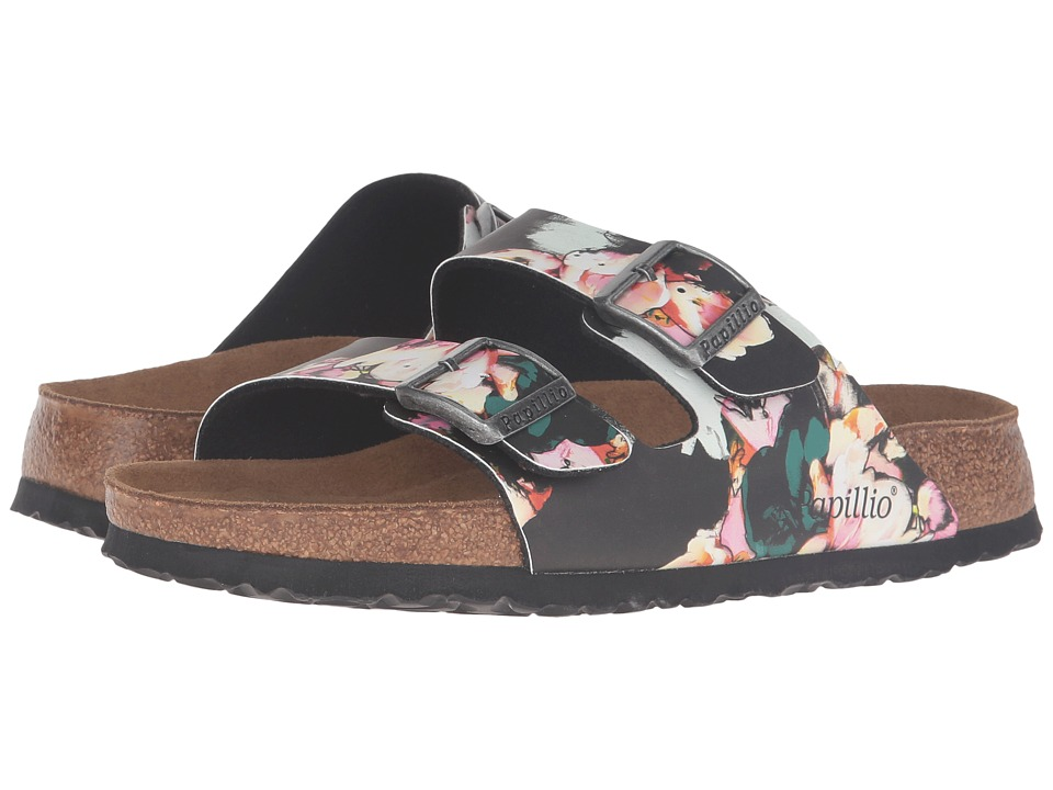 Birkenstock - Arizona Soft Footbed (Painted Bloom Black Birko-Flor) Women's Sandals