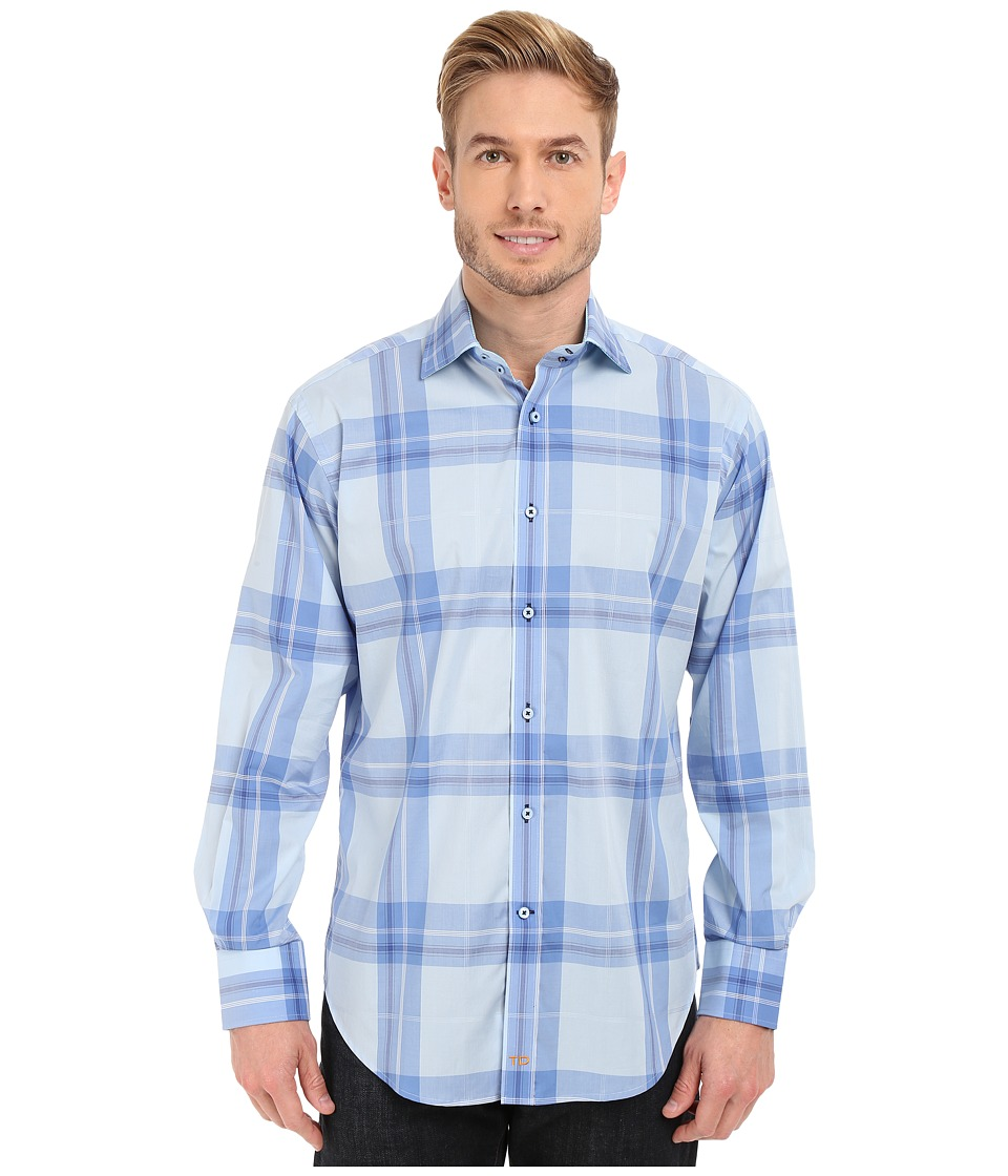 Thomas Dean & Co. - Long Sleeve Woven Spaced Windowpane (Blue) Men's Long Sleeve Button Up