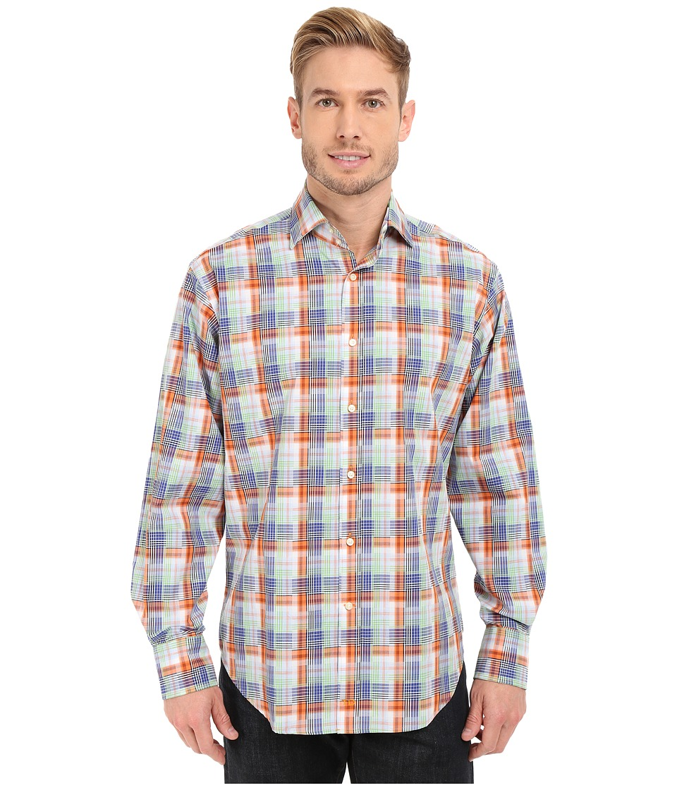 Thomas Dean & Co. - Long Sleeve Woven Twill-Finish Plaid (Orange) Men's Long Sleeve Button Up