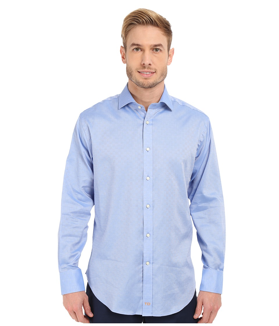 Thomas Dean & Co. - Long Sleeve Woven Textured Tonal Check (Blue) Men's Long Sleeve Button Up