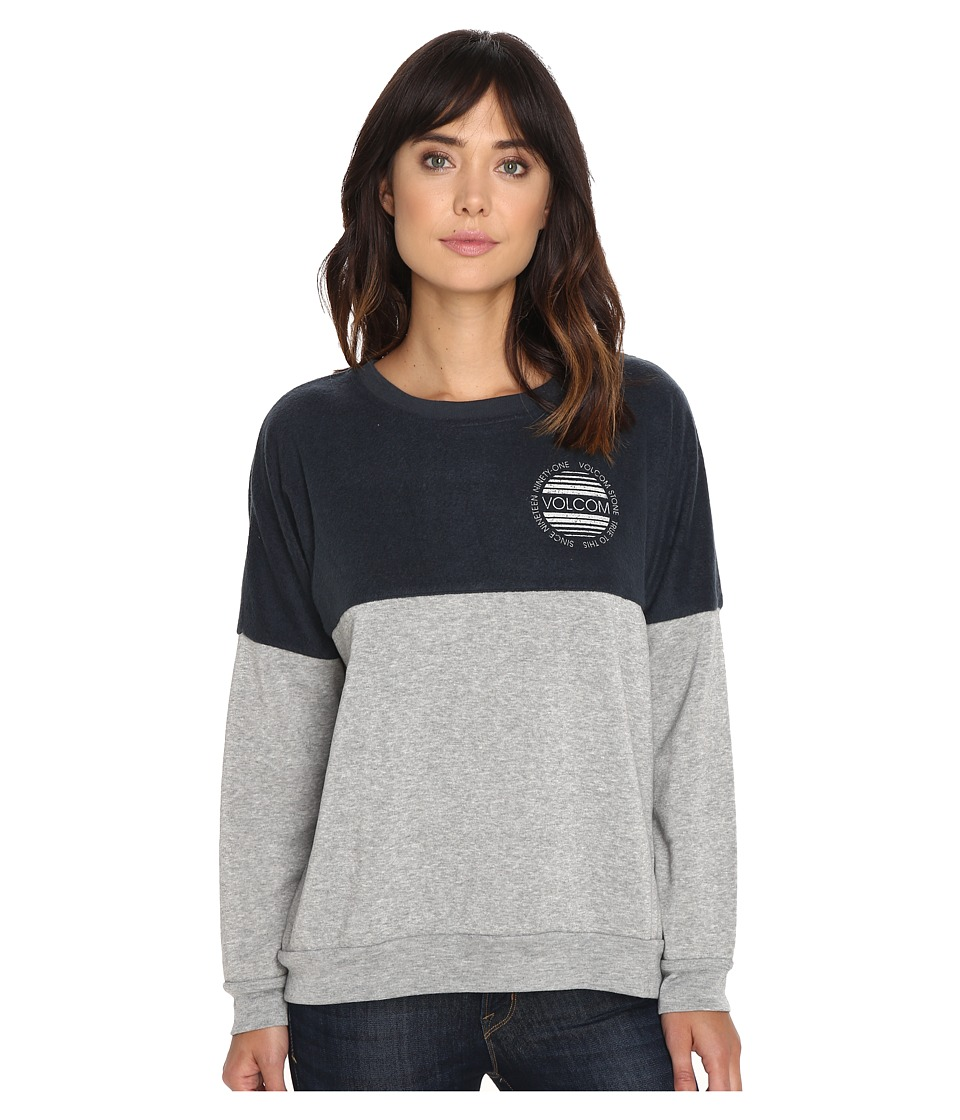 Volcom - Lived In Color Blocked Crew (Dark Navy) Women's Long Sleeve Pullover