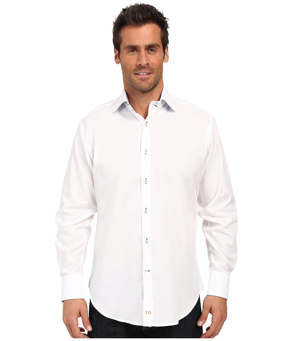 Thomas Dean & Co. - White Twill Solid Button Down Sport Shirt (White) Men's Long Sleeve Button Up